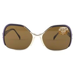 New Vintage Metzler Umbral 85 Silver & Purple Sunglasses Made in Germany 1980's