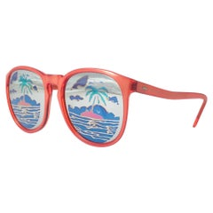 New Vintage Michele Lamy Diffuse Red Frame Mirror Print Rick Owens Sunglasses