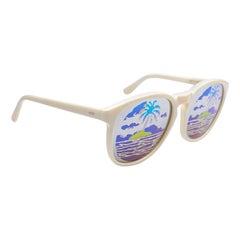 New Vintage Michele Lamy Diffuse White Frame Mirror Print Rick Owens Sunglasses