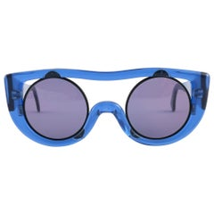 New Vintage Montana 564 Electric Blue Handmade in France Sunglasses 1980's