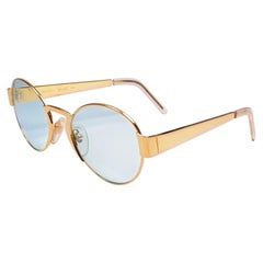 New Vintage Moschino By Persol M08 Frame Medium Round Gold Sunglasses