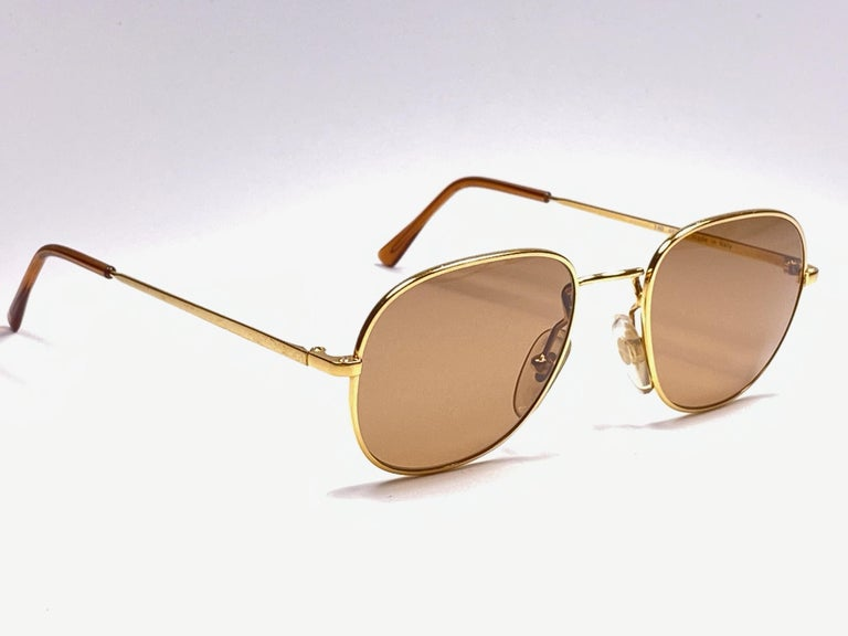 Brown New Vintage Moschino By Persol M17 Gold Mirror Sunglasses Made in Italy For Sale