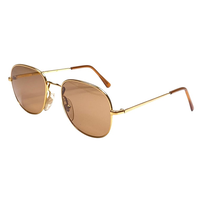 New Vintage Moschino By Persol M17 Gold Mirror Sunglasses Made in Italy For Sale