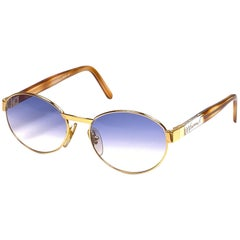 New Vintage Moschino By Persol M32 Frame Medium Oval Gold Sunglasses
