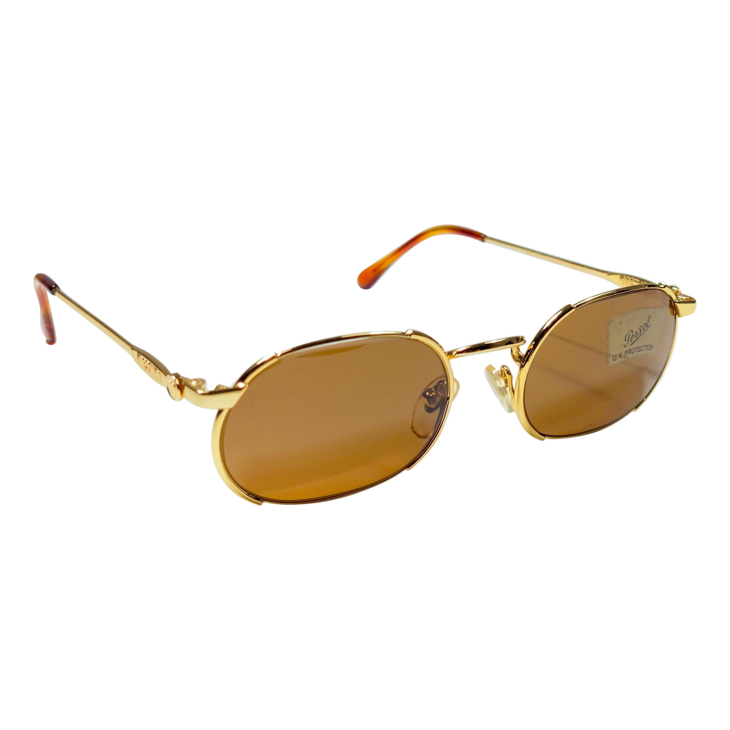 New Vintage Moschino By Persol MM483 Small Frame Gold 1990 Sunglasses Italy