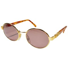 New Vintage Moschino By Persol MM523 Oval Medium Gold 1990 Sunglasses Italy