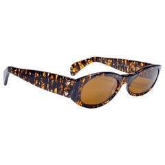 New Vintage Moschino By Persol Tortoise Small Sleek Sunglasses Made in Italy