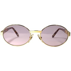 New Vintage Moschino MM10 Medium Round Gold 1990 Sunglasses Made in Italy