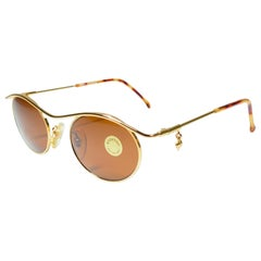 "New Vintage Moschino MM276 "" HEART "" Small Gold 1990 Sunglasses Made in Italy"