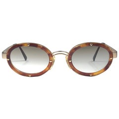 New Vintage Moschino MM3010 S Oval Light Brown 1990 Sunglasses 1990's