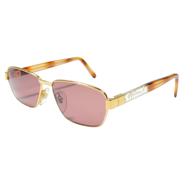 New Vintage Moschino MM33 Medium Gold 1990 Sunglasses Made in Italy For Sale