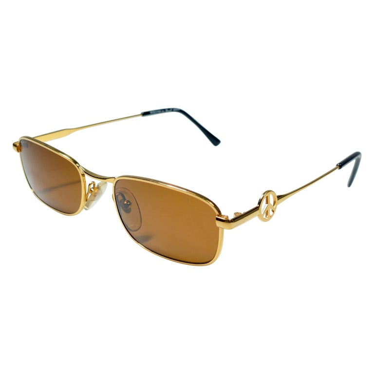 """New Vintage Moschino MM504 Small """" Peace """" Gold 1990 Sunglasses Made in Italy For Sale"""