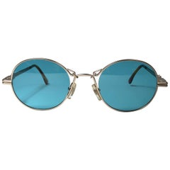 New Vintage Moschino MM514 Medium Round Gold 1990 Sunglasses Made in Italy