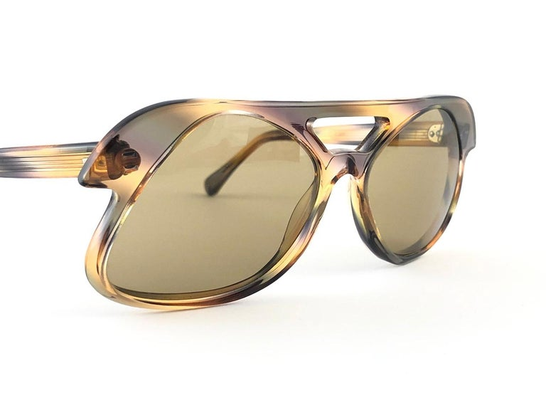 Brown New Vintage Pierre Cardin C27 Ultra Rare Medium 1960's Sunglasses For Sale