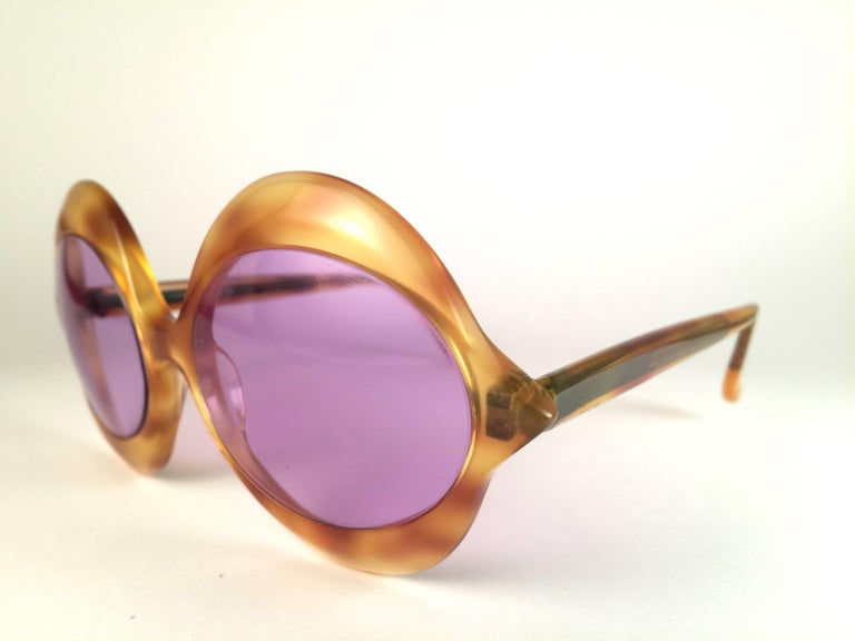 Beige New Vintage Pierre Cardin Kiss Tortoise Rose Lenses Medium 1960's Sunglasses For Sale