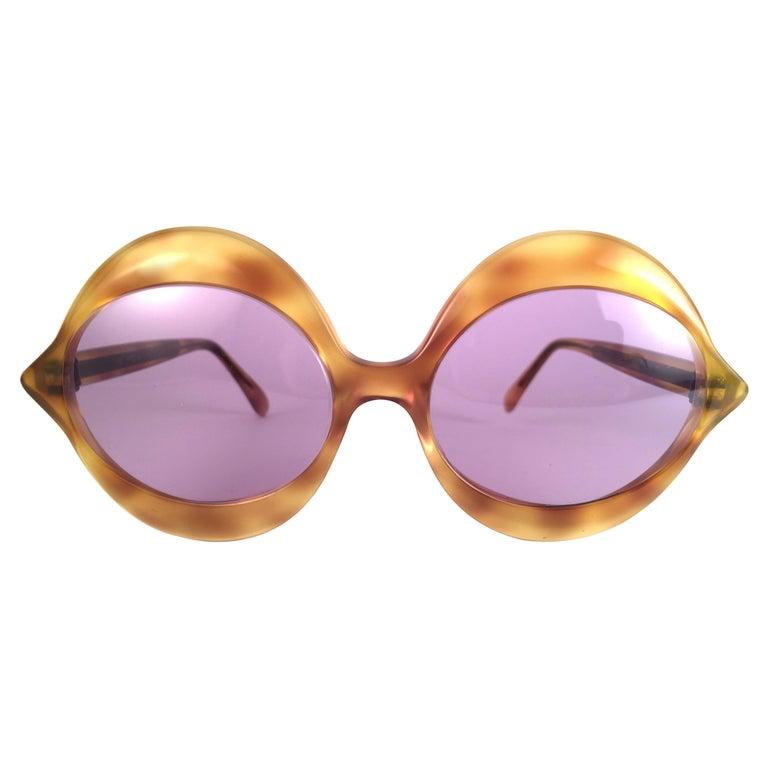 New Vintage Pierre Cardin Kiss Tortoise Rose Lenses Medium 1960's Sunglasses For Sale