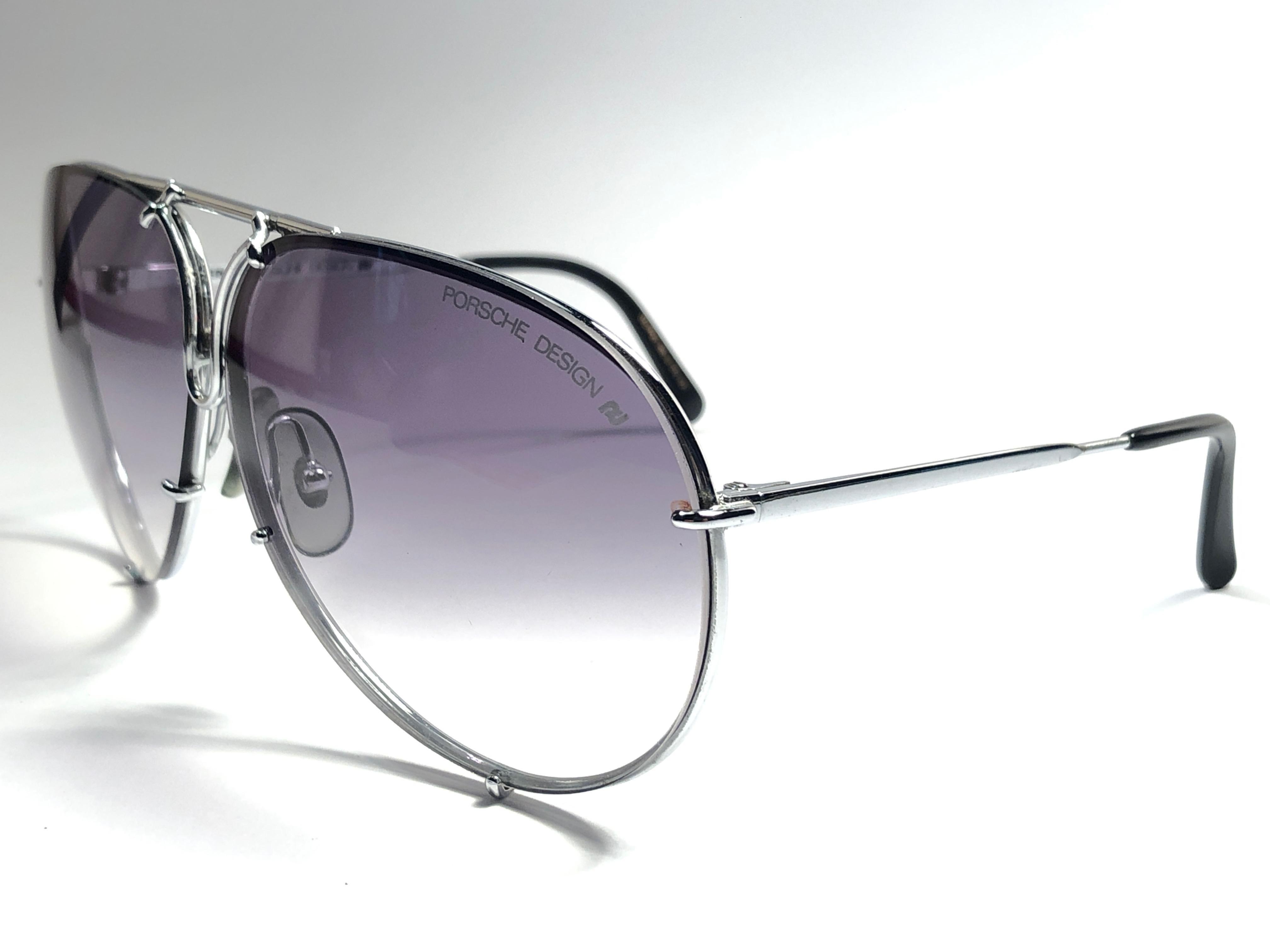 6788bd5b28 New Vintage Porsche Design 5623 Silver Oversized Aviator Sunglasses Austria  For Sale at 1stdibs