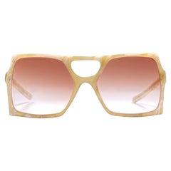 New Vintage Rare A.A Sutain Oversized Beige Sunglasses 1970's