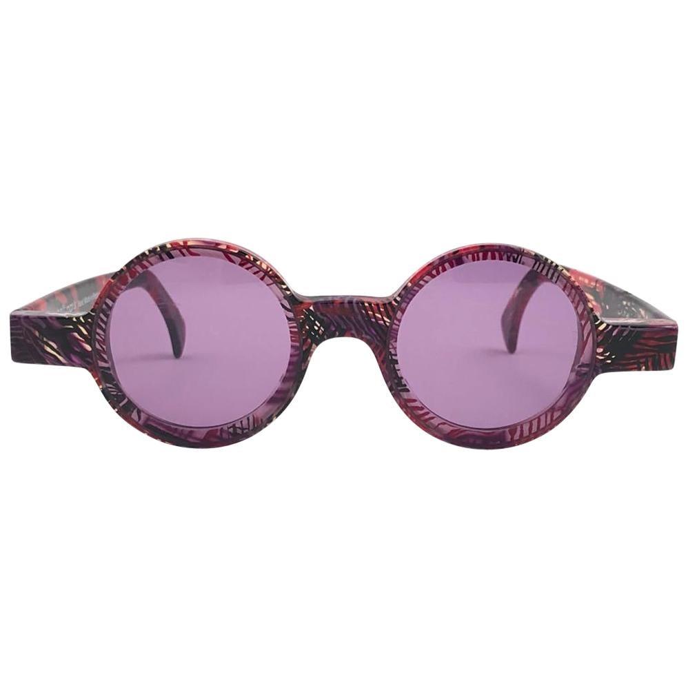 New Vintage Rare Alain Mikli 0150  Round Pink Tones France Sunglasses 1990