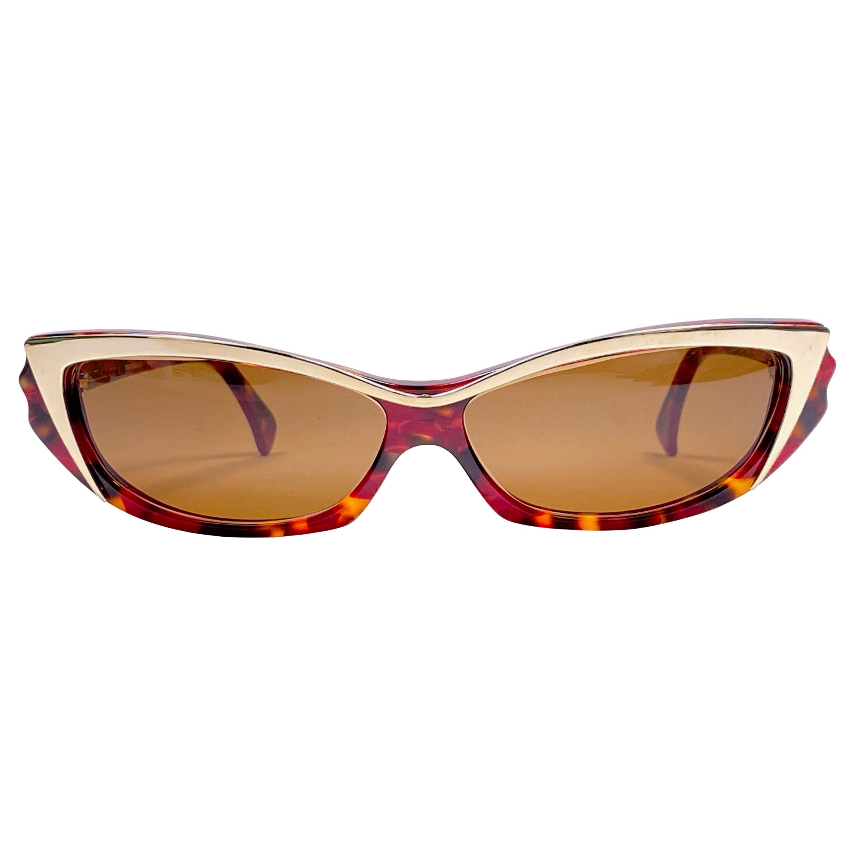 New Vintage Rare Alain Mikli 2109 Tortoise & Gold France Sunglasses 1990