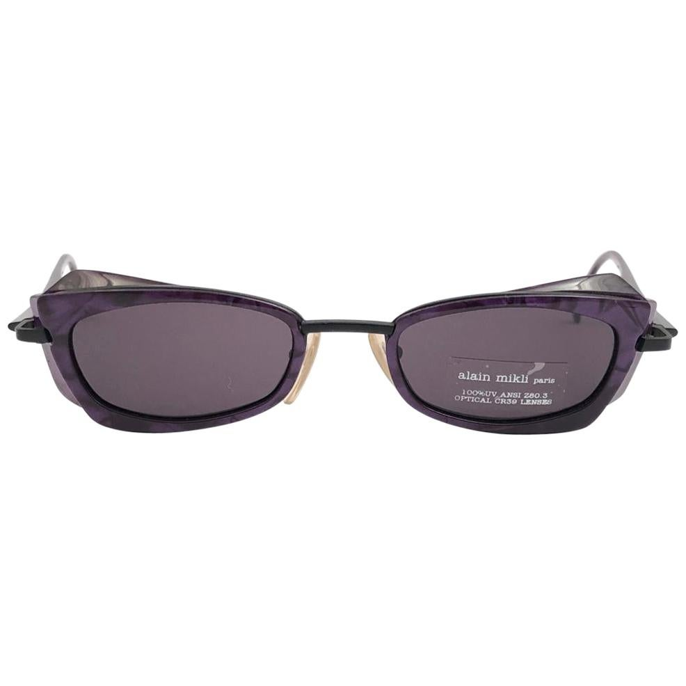 New Vintage Rare Alain Mikli 5011 Purple & Black France Sunglasses 1990