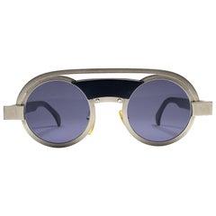 New Vintage Rare Alain Mikli 639 Black Round Aluminium France Sunglasses 1980