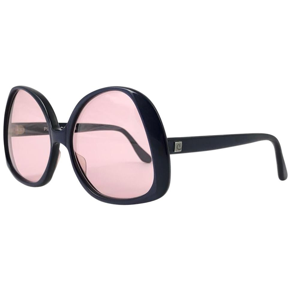 New Vintage Rare Pierre Cardin Dark Blue Oversized 1960's sunglasses