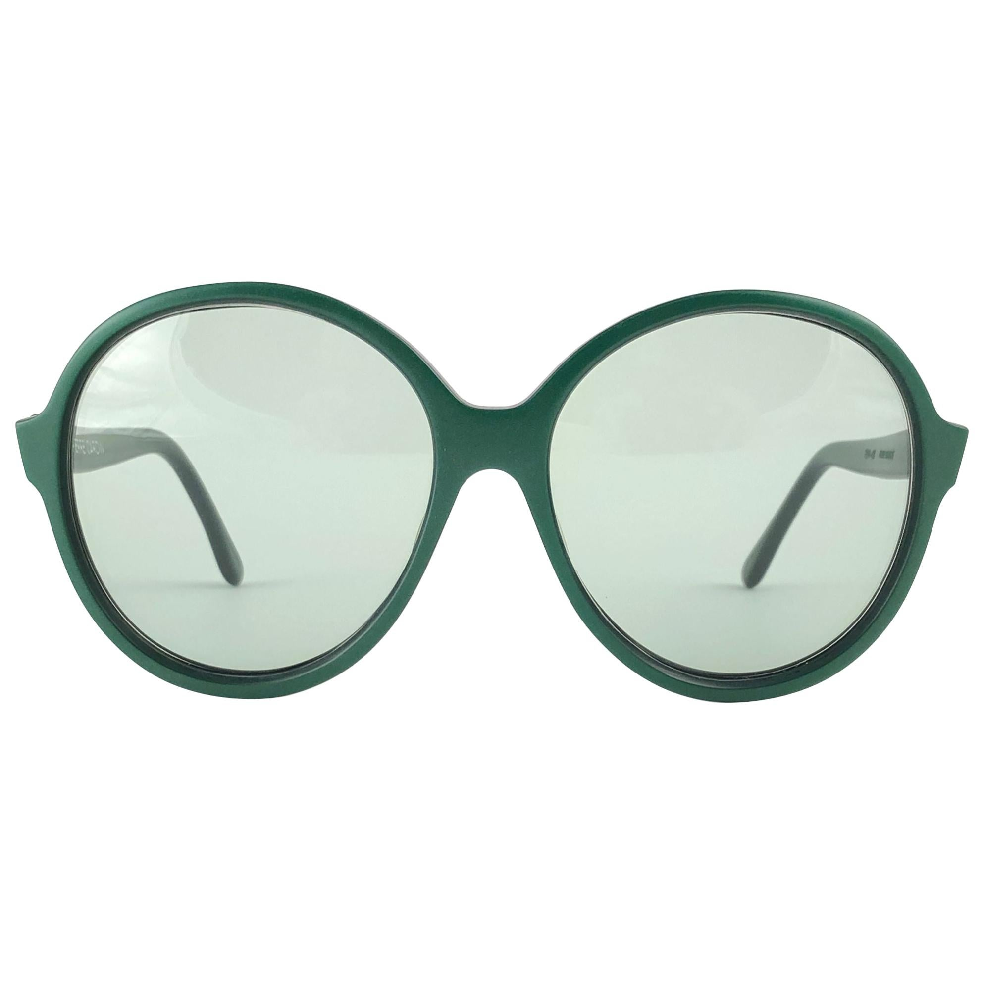New Vintage Rare Pierre Cardin Dark Green Oversized 1960's sunglasses