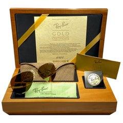 "New Vintage Rare Ray Ban "" GOLD "" Full Set 62Mm Lenses B&L Sunglasses Germany"