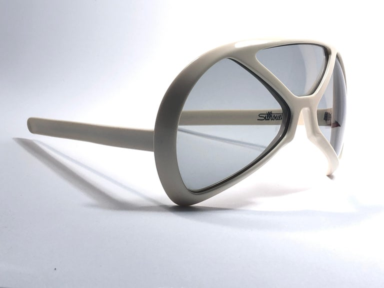 Gray New Vintage Rare Silhouette Futura 570 White Collector Item 1970 Sunglasses  For Sale