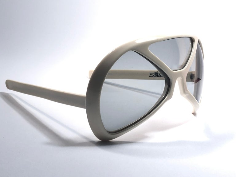 New Vintage Rare Silhouette Futura 570 White Collector Item 1970 Sunglasses  In New Condition For Sale In Amsterdam, Noord Holland