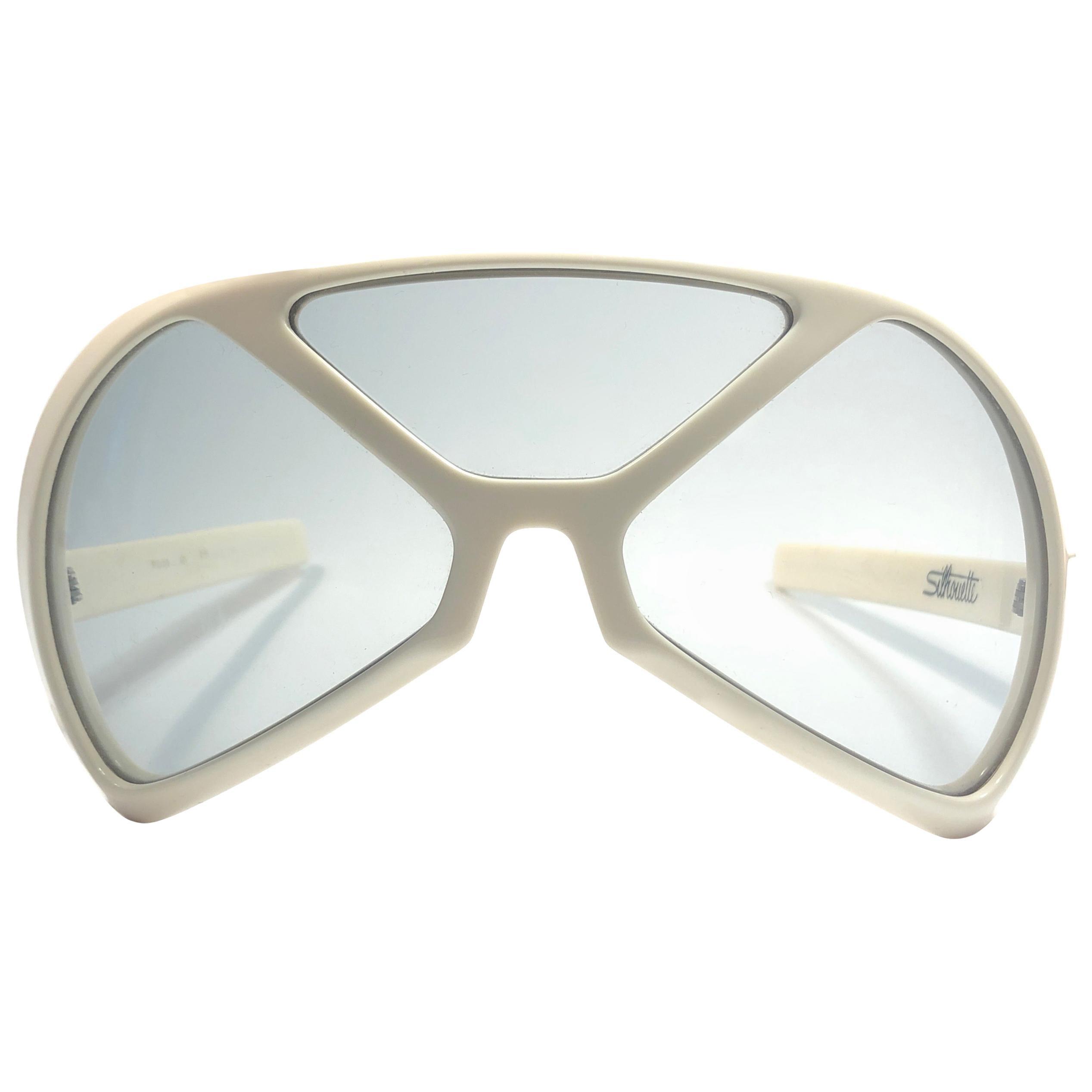 New Vintage Rare Silhouette Futura 570 White Collector Item 1970 Sunglasses