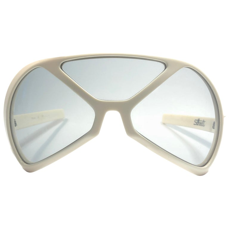 New Vintage Rare Silhouette Futura 570 White Collector Item 1970 Sunglasses  For Sale