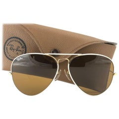 New Vintage Ray Ban 62MM Aviator Flying Colors White B15 Lenses B&L Sunglasses