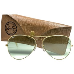 New Vintage Ray Ban Aviator 62Mm Changeable Green Lenses  B&L Sunglasses