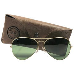 aa750452f3 New Vintage Ray Ban Aviator 62Mm RB3 Green Lenses B L Sunglasses