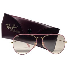 New Vintage Ray Ban Aviator Flying Colors Pink Rose Lenses B&L Sunglasses