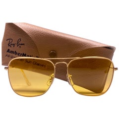 New Vintage Ray Ban Caravan Gold Ambermatic Lenses 1970's B&L Sunglasses
