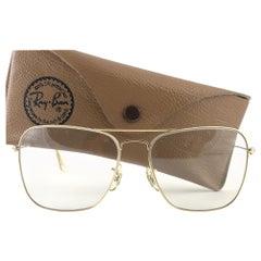 New Vintage Ray Ban Caravan Gold Changeable Lenses 1970's B&L Sunglasses
