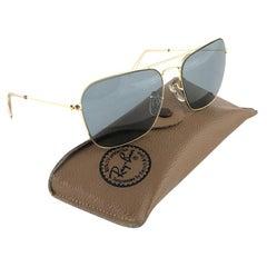 New Vintage Ray Ban Caravan Gold Medium Grey Lenses 1970's B&L Sunglasses