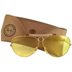 New Vintage Ray Ban Kalichrome Shooter Gold 62Mm 1960's B&L Sunglasses