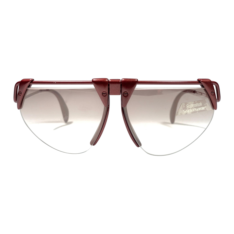 New Vintage Rodenstock 1757 Metallic Burgundy Futuristic 1980's Sunglasses