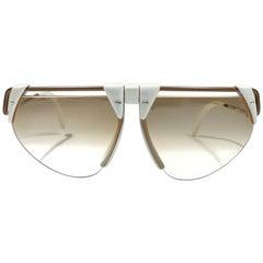 New Vintage Rodenstock 1757 Polar White Futuristic 1980's Sunglasses