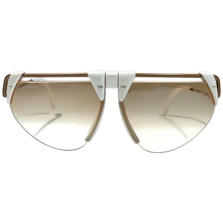 New Vintage Rodenstock 1757 Polar White Futuristic 1980's Sunglasses For Sale