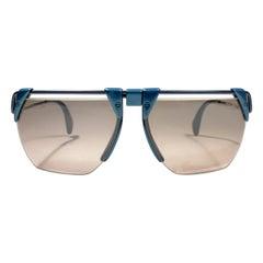 New Vintage Rodenstock 1758 Metallic Blue Futuristic 1980's Sunglasses