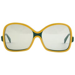 New Vintage Rodenstock Oversized Green & Yellow 1980's Sunglasses Germany