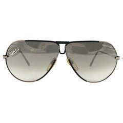 New Vintage Safilo Design 03 Black Mate Aviator 80's Sunglasses Madein Italy