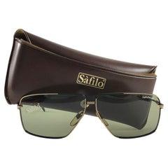 New Vintage Safilo Design 04 Black Mate Aviator 1980's Sunglasses Made in Italy