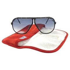 New Vintage Safilo Design 1 177 Black Aviator 1980's Sunglasses Made in Italy