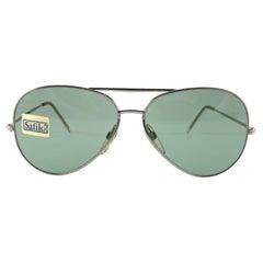 New Vintage Safilo Jet Silver Aviator Frame 1980's Sunglasses Made in Italy